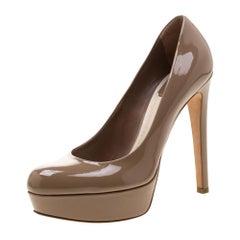 Dior Brown Patent Leather Platform Pumps 38.5
