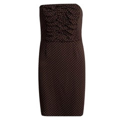 Dior Brown Polka Dot Print Silk Ruched Panel Detail Strapless Dress S
