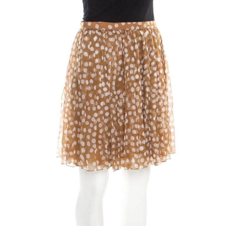 Dior Brown Polka Dotted Silk Chiffon Gathered Skirt M In Good Condition For Sale In Dubai, Al Qouz 2