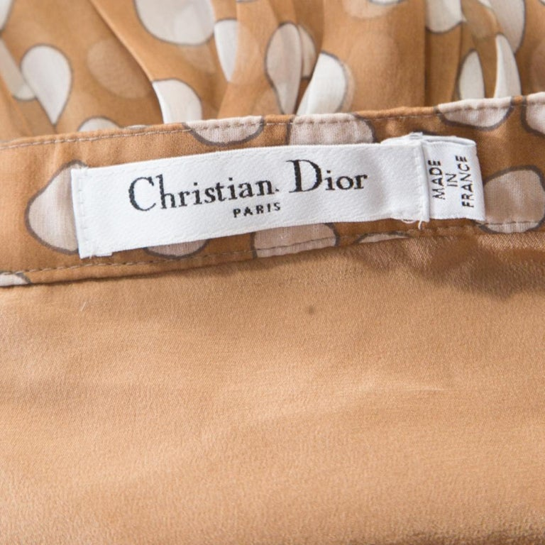 Women's Dior Brown Polka Dotted Silk Chiffon Gathered Skirt M For Sale