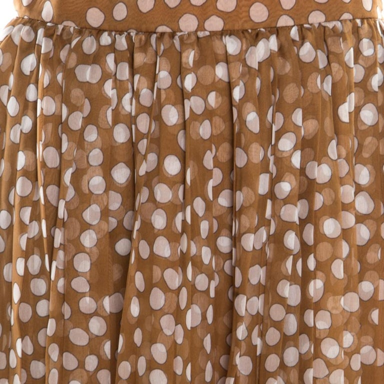 Dior Brown Polka Dotted Silk Chiffon Gathered Skirt M For Sale 1