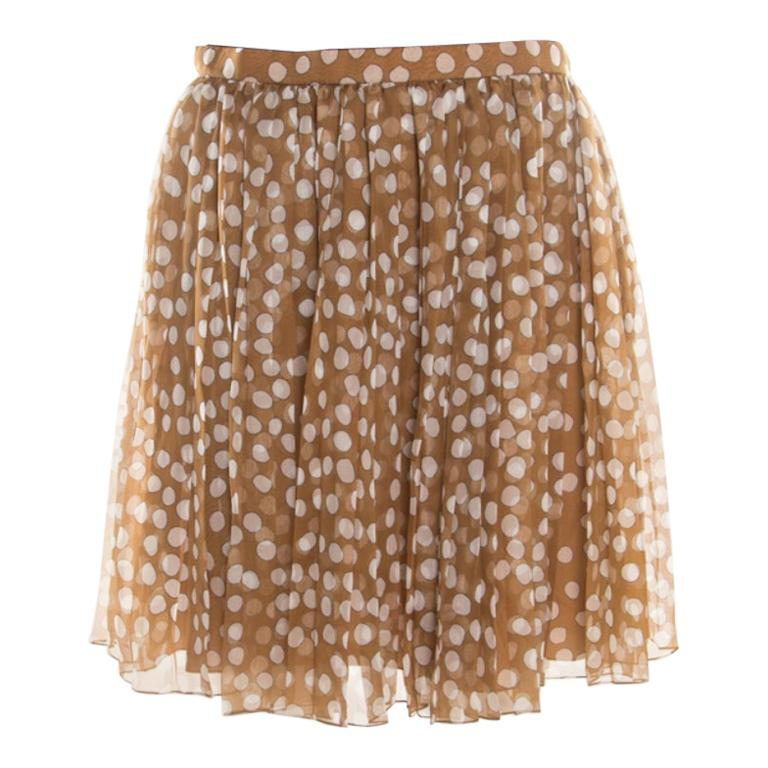 Dior Brown Polka Dotted Silk Chiffon Gathered Skirt M For Sale
