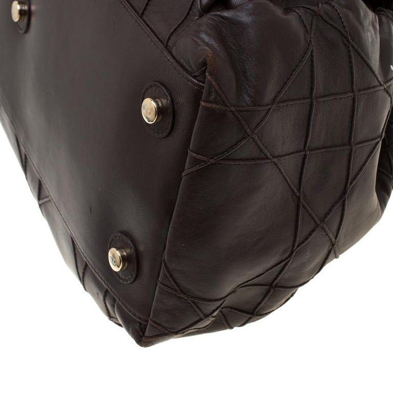 Dior Brown Quilted Cannage Leather Le Trente Hobo For Sale 2