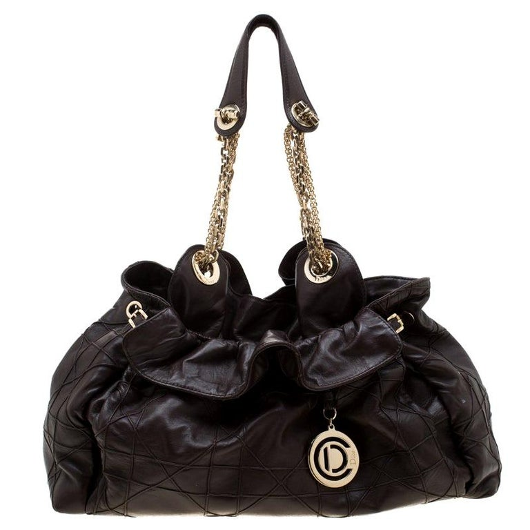 Dior Brown Quilted Cannage Leather Le Trente Hobo For Sale