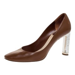 Dior Brown/Silver Leather And Crackle Leather Savane Pumps Size 37.5