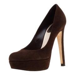 Dior Brown Suede Miss Dior Platform Pumps Size 37