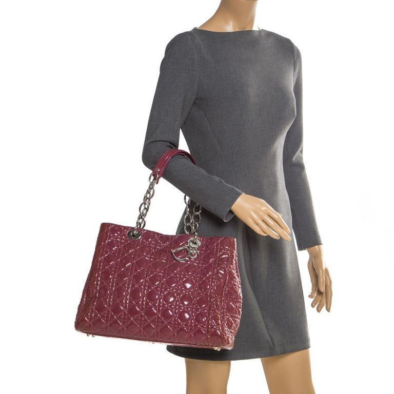 Brown Dior Burgandy Cannage Patent Leather Soft Lady Dior Tote