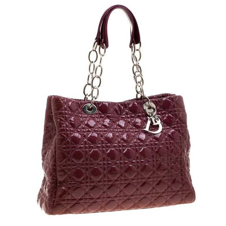 Dior Burgandy Cannage Patent Leather Soft Lady Dior Tote In Good Condition In Dubai, Al Qouz 2