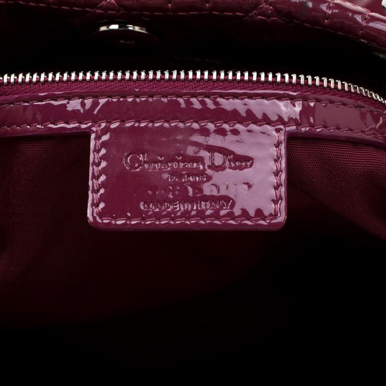 Dior Burgandy Cannage Patent Leather Soft Lady Dior Tote 1