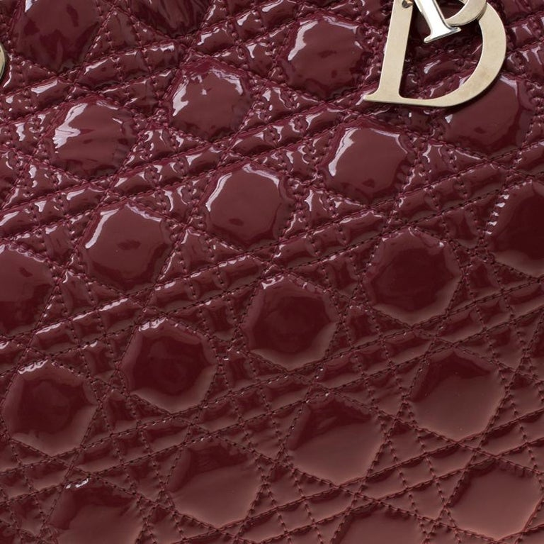 Dior Burgandy Cannage Patent Leather Soft Lady Dior Tote 4