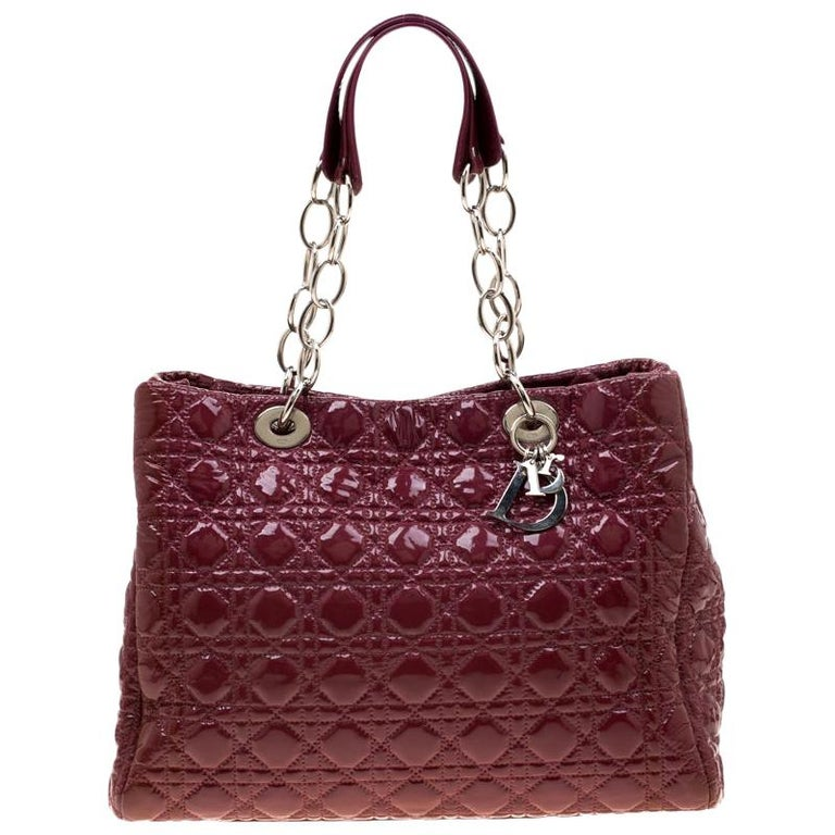 Dior Burgandy Cannage Patent Leather Soft Lady Dior Tote