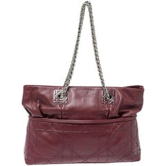 Dior Burgundy Cannage Leather Granville Chain Link Tote