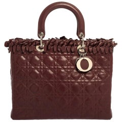 Dior Burgundy Cannage Leather Large Lady Dior Tote