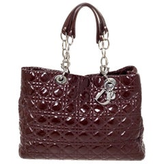 Dior Burgundy Cannage Quilted Soft Patent Leather Large Shopper Tote