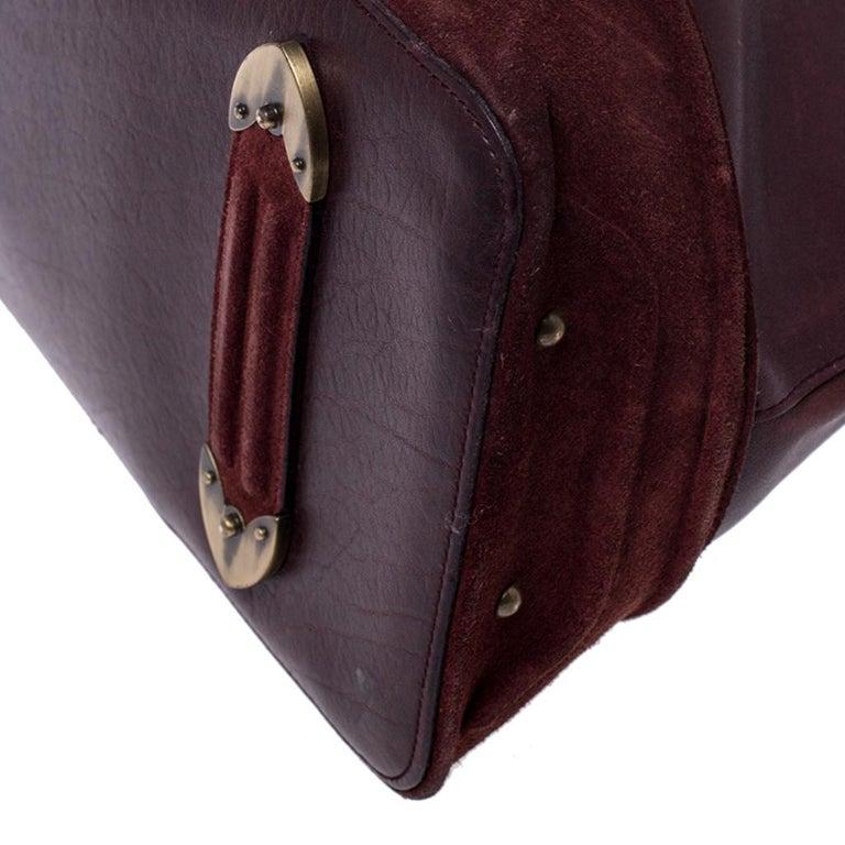 Dior Burgundy Leather and Nubuck Jeanne Bugatti Bag For Sale 6
