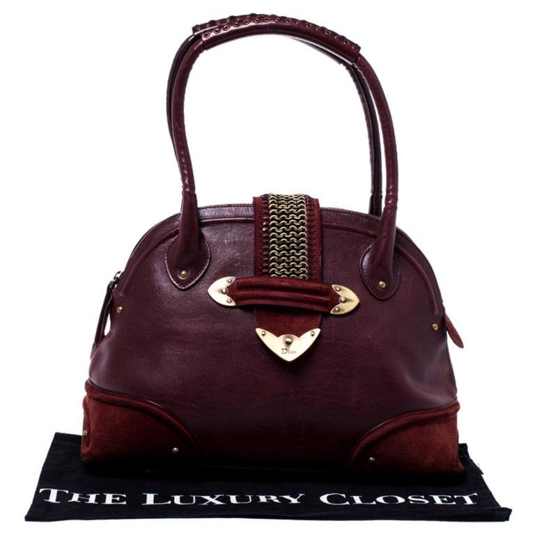 Dior Burgundy Leather and Nubuck Jeanne Bugatti Bag For Sale 8