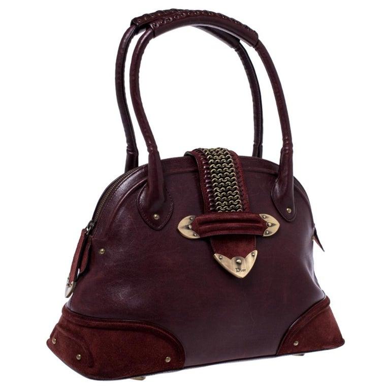 Women's Dior Burgundy Leather and Nubuck Jeanne Bugatti Bag For Sale