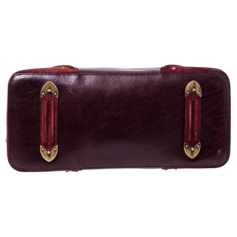 Dior Burgundy Leather and Nubuck Jeanne Bugatti Bag For Sale 1