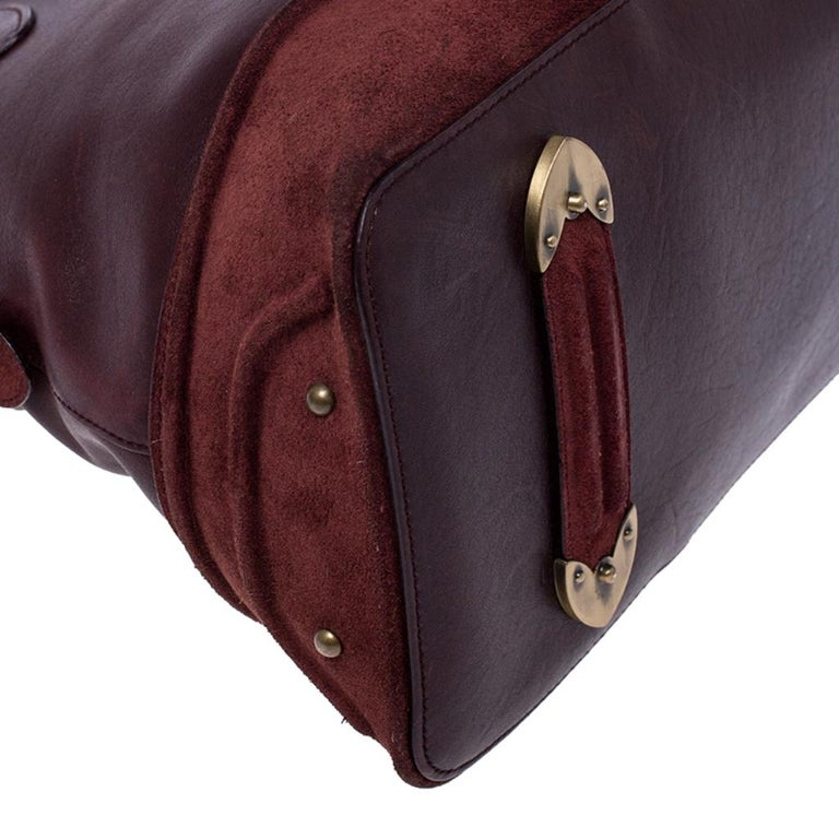 Dior Burgundy Leather and Nubuck Jeanne Bugatti Bag For Sale 3