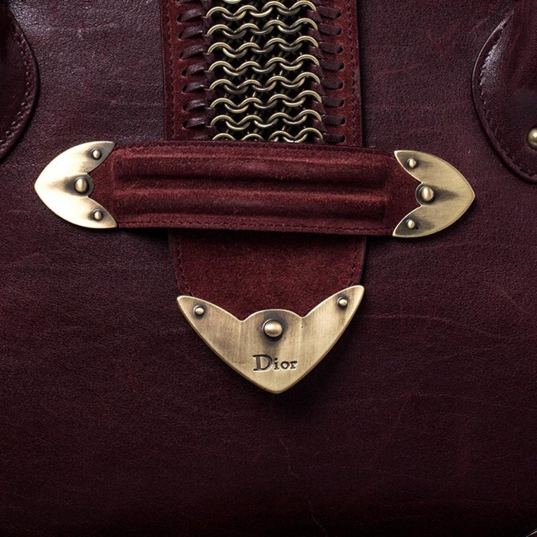 Dior Burgundy Leather and Nubuck Jeanne Bugatti Bag For Sale 4
