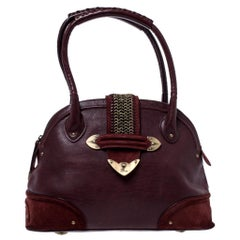Dior Burgundy Leather and Nubuck Jeanne Bugatti Bag