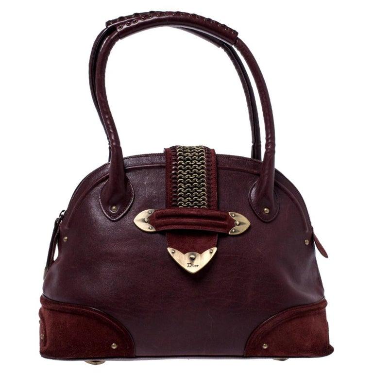 Dior Burgundy Leather and Nubuck Jeanne Bugatti Bag For Sale