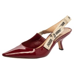 Dior Burgundy Patent Leather J'Adior Pointed Toe Slingback Sandals Size 37.5