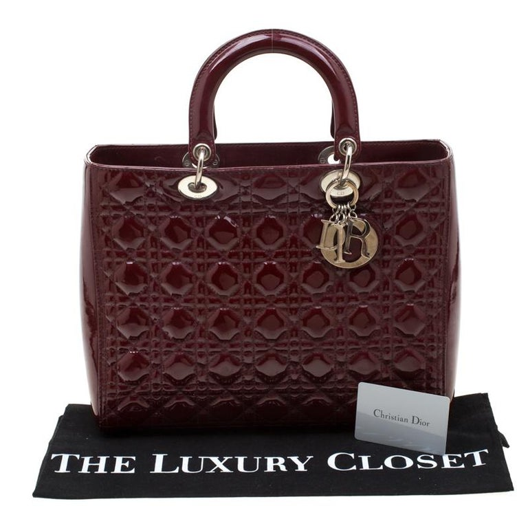 Dior Burgundy Patent Leather Large Lady Dior Tote 8