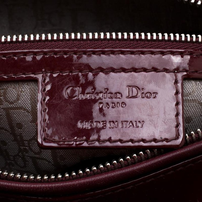 Dior Burgundy Patent Leather Large Lady Dior Tote 1