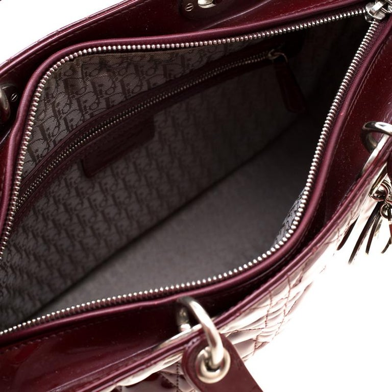 Dior Burgundy Patent Leather Large Lady Dior Tote 2