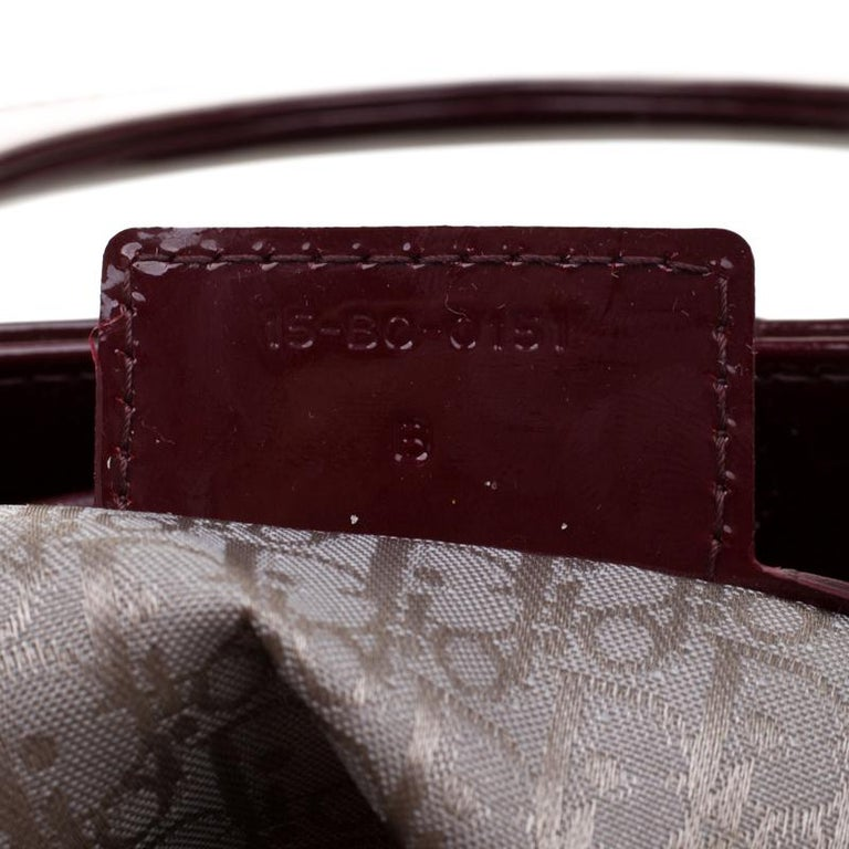 Dior Burgundy Patent Leather Large Lady Dior Tote 4