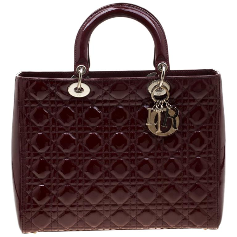 Dior Burgundy Patent Leather Large Lady Dior Tote