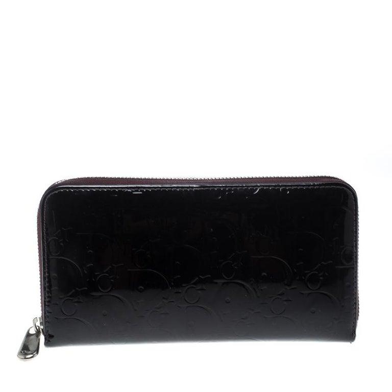 fe1db8e88f9f7 Dior Burgunder Lackleder Ultimate Geldbörse mit Reißverschluss im ...