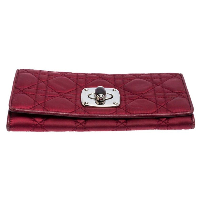 Women's Dior Burgundy Quilted Cannage Satin Charming Lock Continental Wallet For Sale