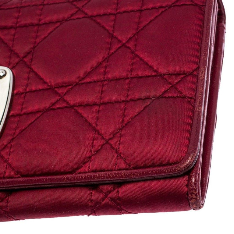 Dior Burgundy Quilted Cannage Satin Charming Lock Continental Wallet For Sale 1