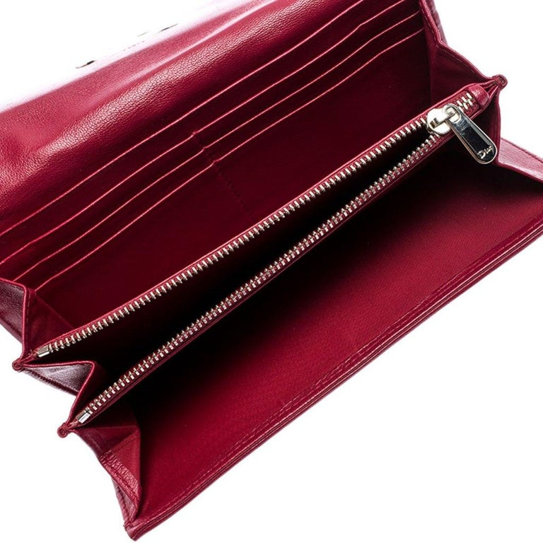 Dior Burgundy Quilted Cannage Satin Charming Lock Continental Wallet For Sale 2