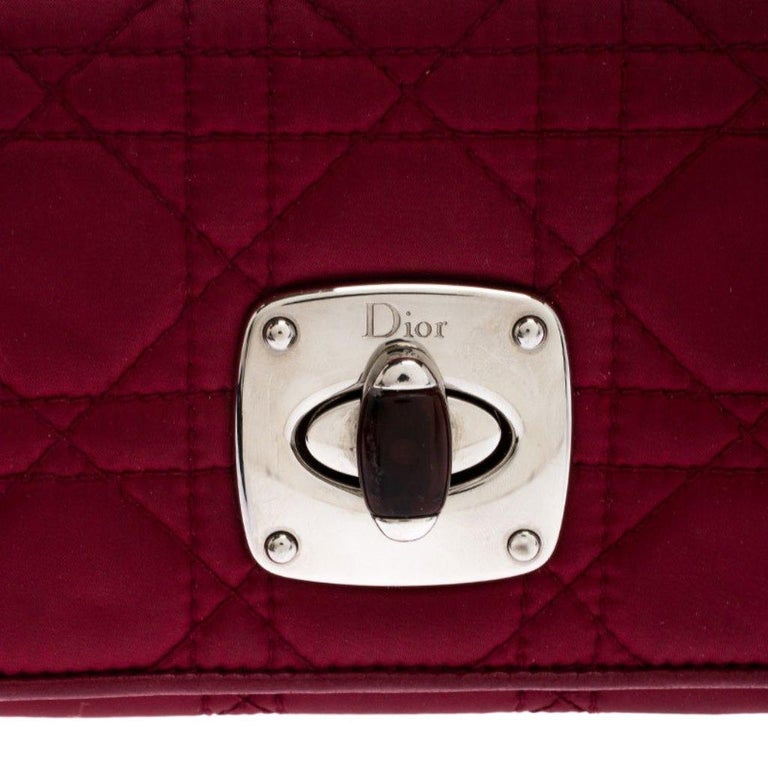 Dior Burgundy Quilted Cannage Satin Charming Lock Continental Wallet For Sale 3