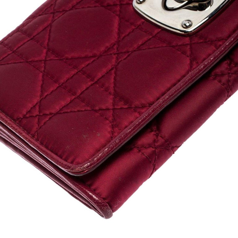 Dior Burgundy Quilted Cannage Satin Charming Lock Continental Wallet For Sale 4