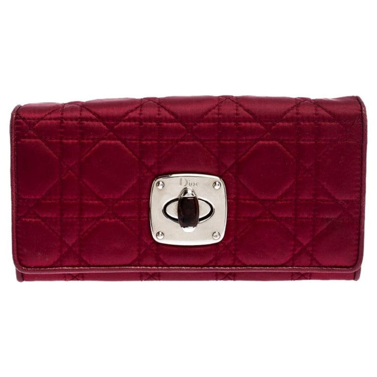 Dior Burgundy Quilted Cannage Satin Charming Lock Continental Wallet For Sale