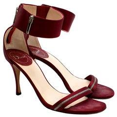 Dior Burgundy Satin Zip Detail Sandals 39.5