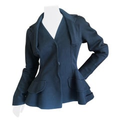 """Dior by Galliano Black Jersey """"Bar"""" Jacket with Exaggerated Peplum Hips"""