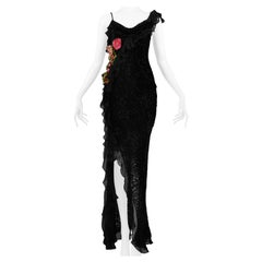 Dior by Galliano Black Velvet Devore Gown with Flowers 2002