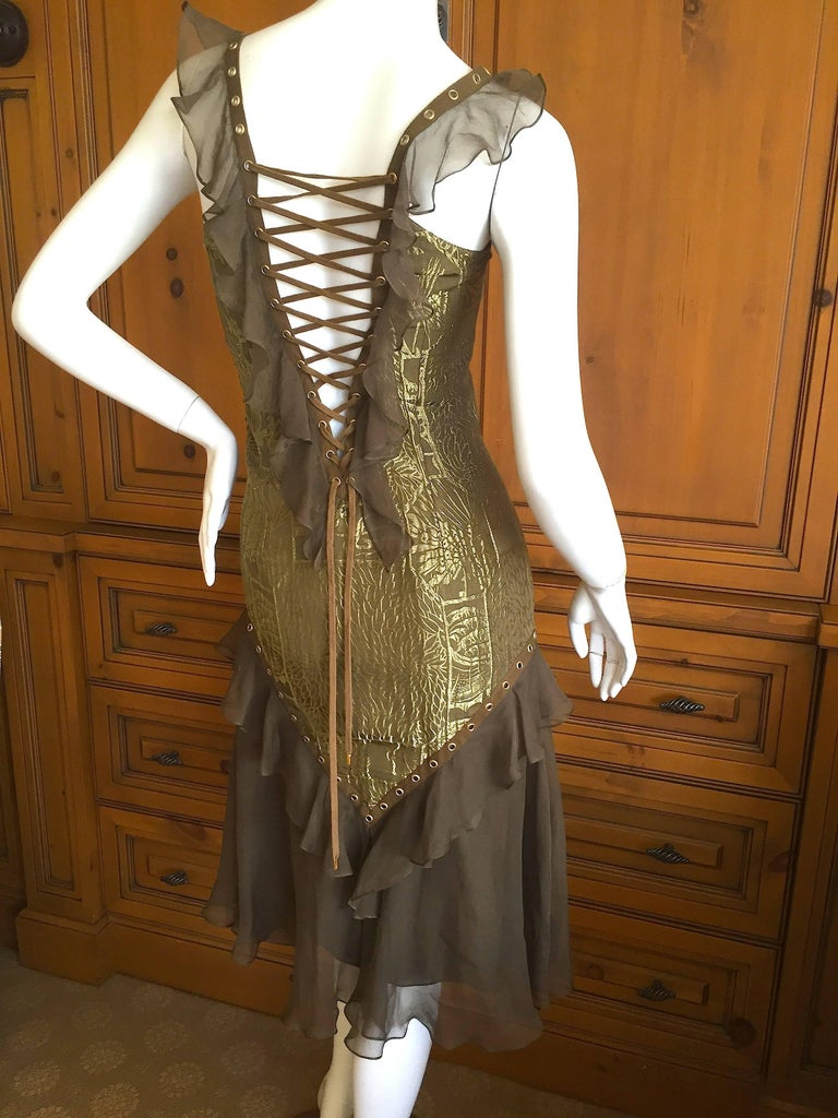 Brown Dior by Galliano Corset Lace Cocktail Dress