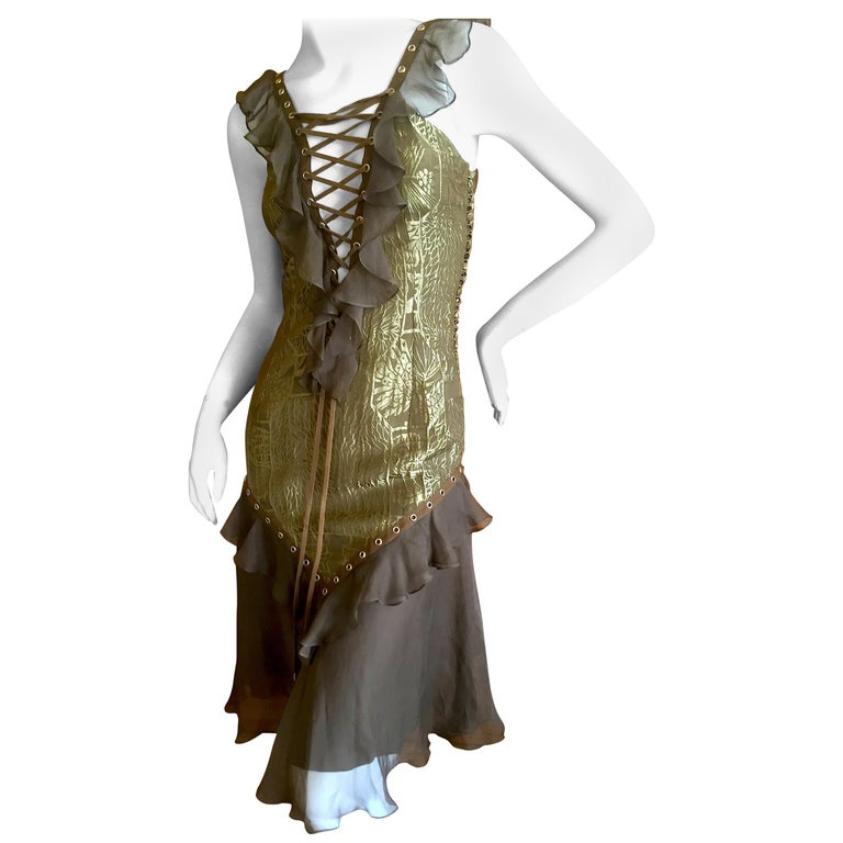 Dior by Galliano Corset Lace Cocktail Dress