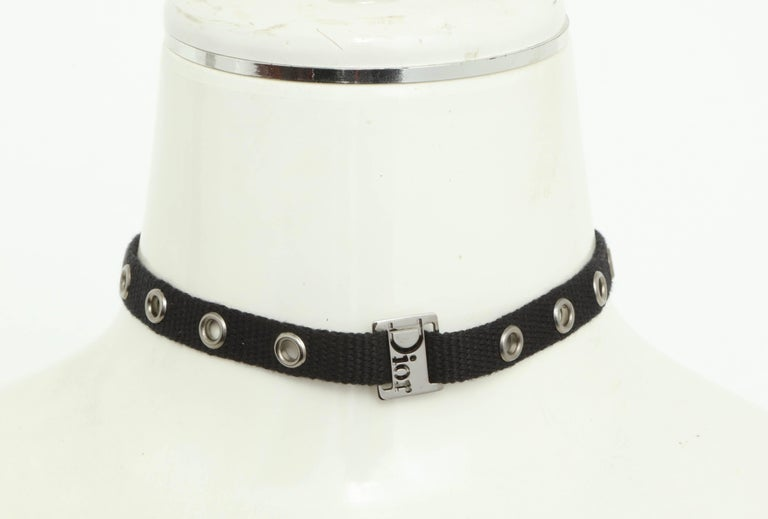 Beautiful Dior by John Galliano black choker with silver hardware.  Length: Adjustable 12 to 14 inches