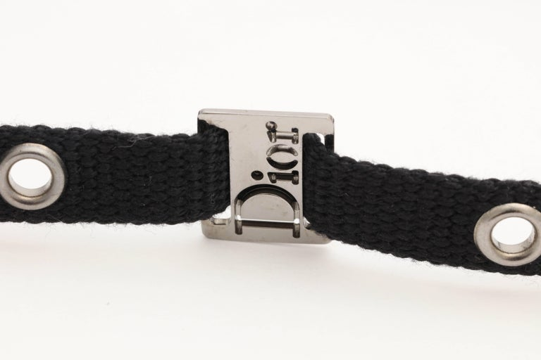 Women's Dior by John Galliano Black Choker with Silver Hardware