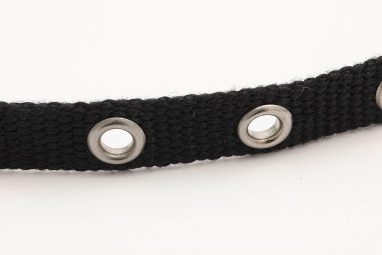 Dior by John Galliano Black Choker with Silver Hardware 1