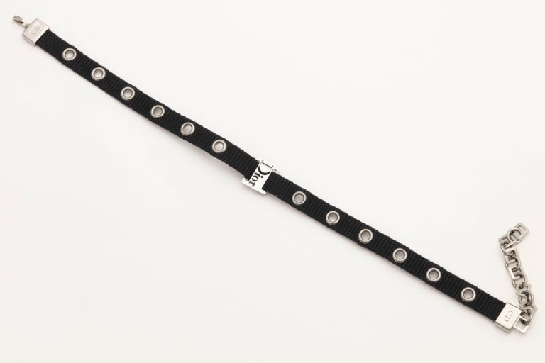 Dior by John Galliano Black Choker with Silver Hardware 3