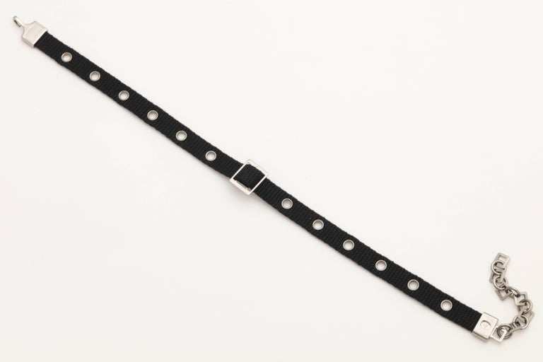 Dior by John Galliano Black Choker with Silver Hardware 4