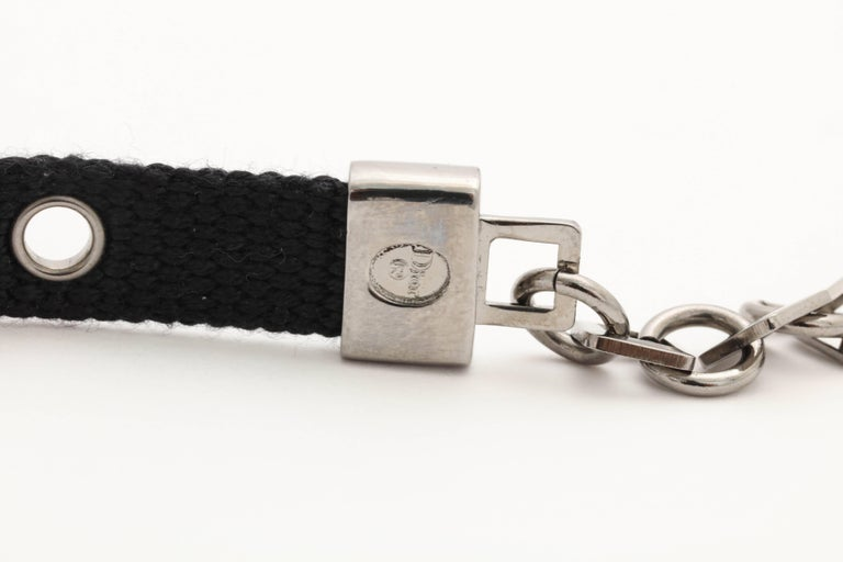 Dior by John Galliano Black Choker with Silver Hardware 5